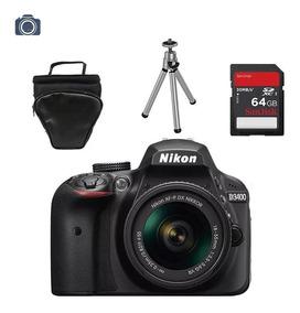 Câmera Digital Nikon D3400 Lente 18-55mm +bolsa +tripé +64gb