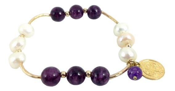 Bashari Pulsera Oro Laminado Mix Pearl & Agatha - Púrpura