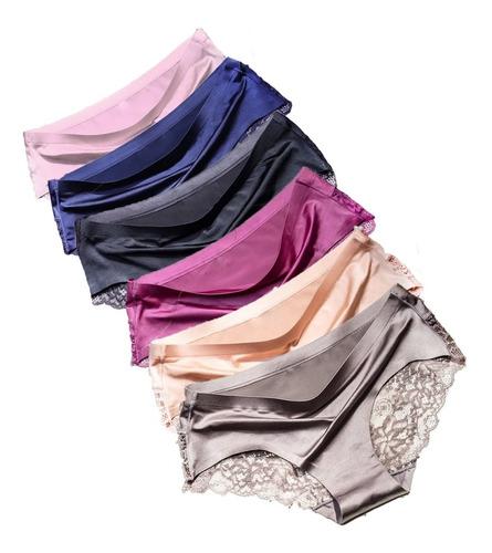 Pantaletas De Encaje Sin Costura Para Mujer, 6 Piezas