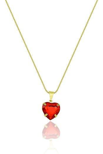 Gargantilha Folheada A Ouro E Pingente De Coração (vermelha)