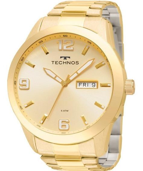 Relógio Technos Masculino Golf Dourado Original 2305af/4x