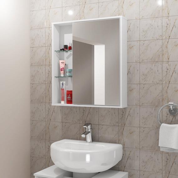 Espelheira Para Banheiro Móveis Bechara Miami 1 Porta Branca