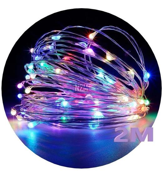 Alambre Luces Led 2 Metros Multicolor Exterior Cable Tira Hilo Pilas Navidad