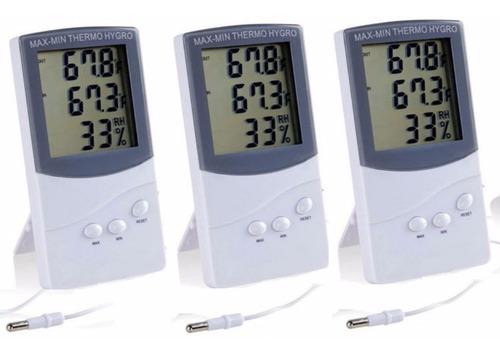 3 Unidades Termohigrómetro Con Sonda, Higrometro, Humedad R