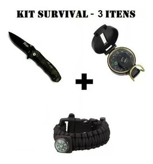 Kit Sobrevivência - 3 Itens Canivete+ Bussola+ Pulseira