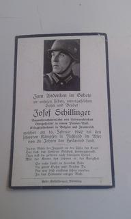 Cartão Falecimento Soldado Alemão Ww2 Josef Schillinger