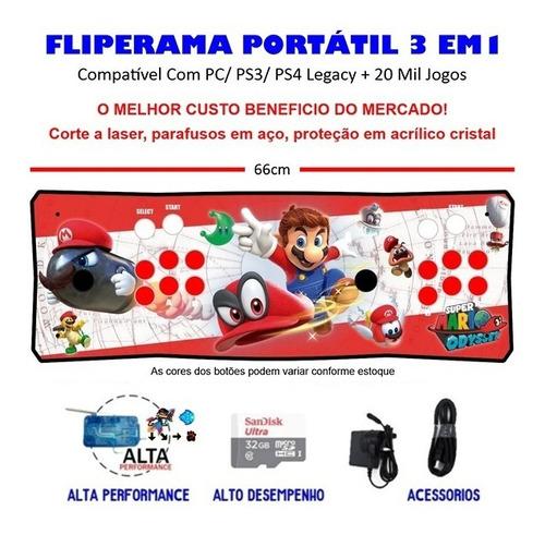 Imagem 1 de 3 de Fliperama Portátil Slim 3 Em 1 - Mario Odyssey