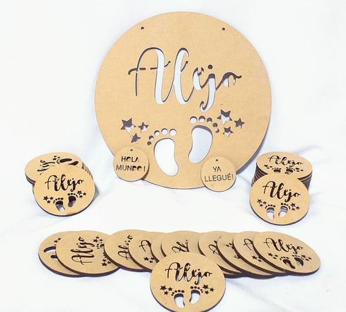 Imagen 1 de 10 de Kit Bienvenida Nacimiento + 30 Souvenirs + Ya Llegue - Mdf