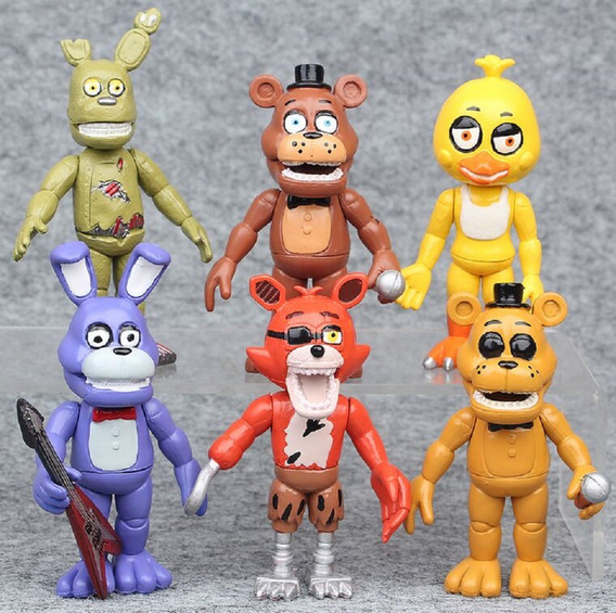 6 Bonecos Five Night Freddy Action Bonnie Chica Foxy Ação