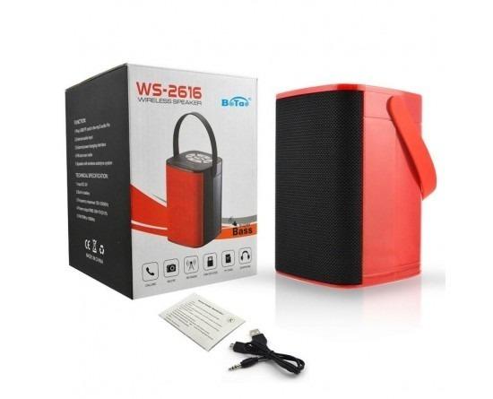Caixa De Som Bluetooth Com Rádio Fm, Mp3 Vermelho Com Preto