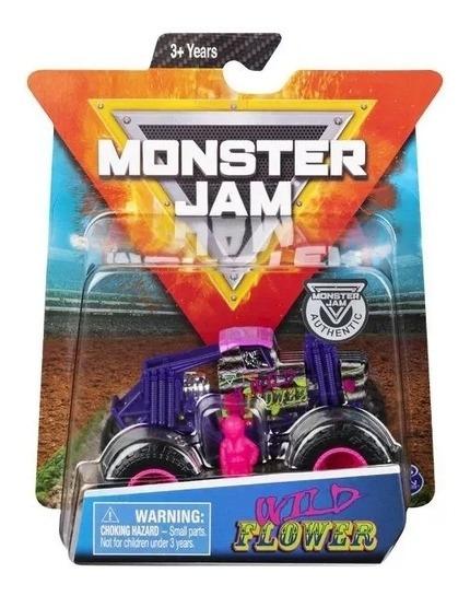 Carrinho Monster Jam E Figura Wild Flower 1:64 Sunny 2025