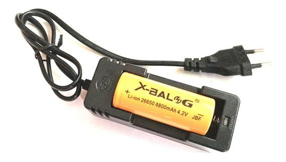 Kit 1 Carregador +2 Bateria 26650 8800mah 4.2v Jbf