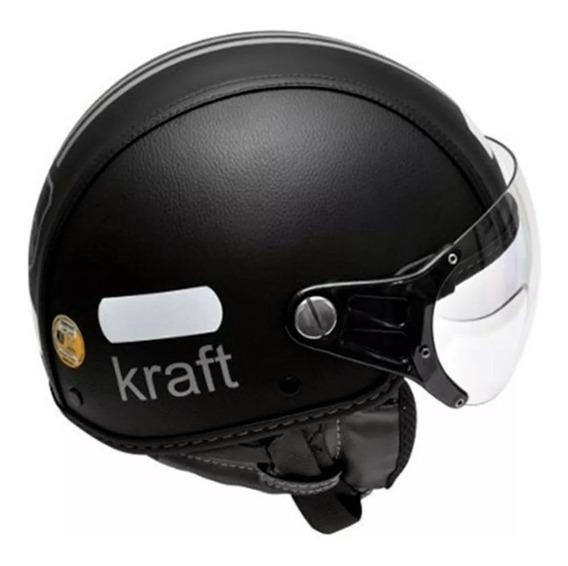 Capacete Kraft Revestido Couro Preto