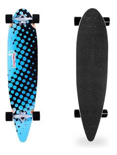 Skate Longboard Profissional Em Madeira E Rodas 70mm Azul