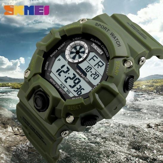 Relógio Masculino Verde Militar Skmei Original Prova D