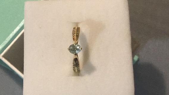 Anel Em Ouro Com 32 Diamantes E Uma Turmalina Paraíba .