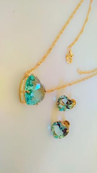 Semi Joia Com Pedra De Cristal Folheado A Ouro18k