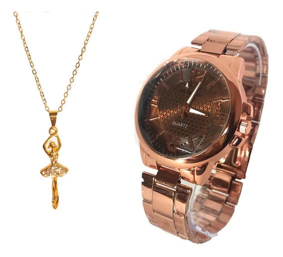 Relógio Feminino + Colar Corrente Folheado A Ouro-semi Joia