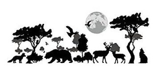 Woodland Arts 35 X 14 Safari Jungle Wild Wolves Bears Elk