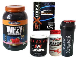 Kit Whey Health + Dextrose + Crea + Bcaa + Shaker
