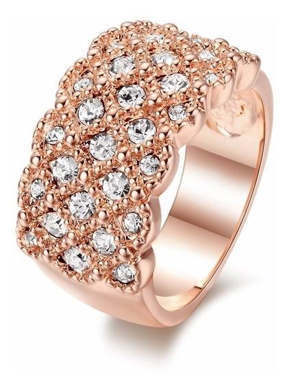 Anel Ouro Rose 18k Cravejdo Com Cristal Austríaco