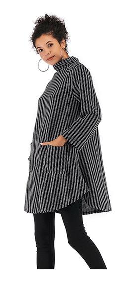 Rayas De Mujer Ponchos Collar De Pie Capa Irregular