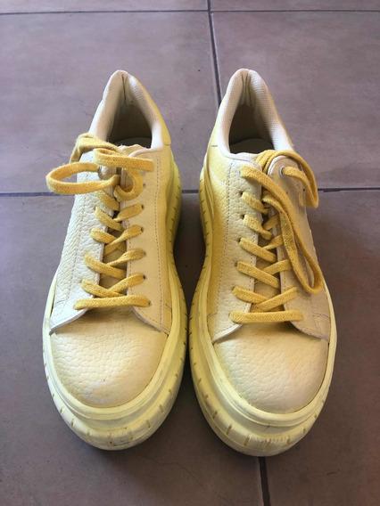 Zapatillas Con Plataforma Amarillas Talle 39