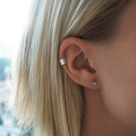 Arete Individual Ear Cuff Simulado Plata Ley .925 Sin Perfo