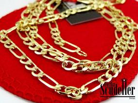 Corrente Masculina Diamantada Média 3 X 1 Banhada Em Ouro