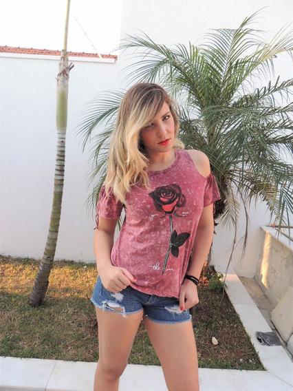 Camiseta Estonada Ombro De Fora