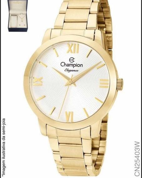 Relógio Champion Feminino Dourado Com Kit Cn25403w