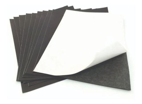 10 Folhas Manta Imantada Adesivada A4 0,3mm Imã De Geladeira