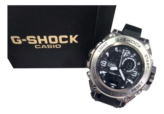 Relógio Gs Preto/prata Borracha Ferro Resistente Água Esport