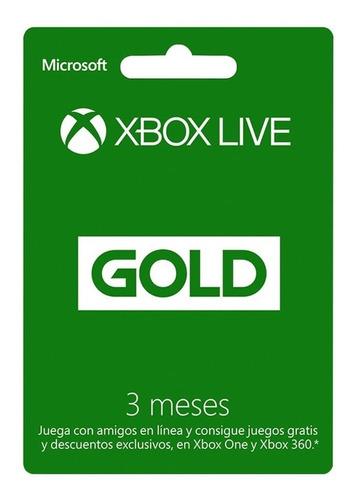 Imagen 1 de 1 de Xbox Live Gold 3 Meses, Entrega Inmediata!