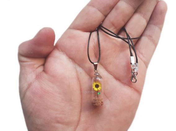 Colar Mini Girassol,flor Do Sol,natural,cores,redoma,energia