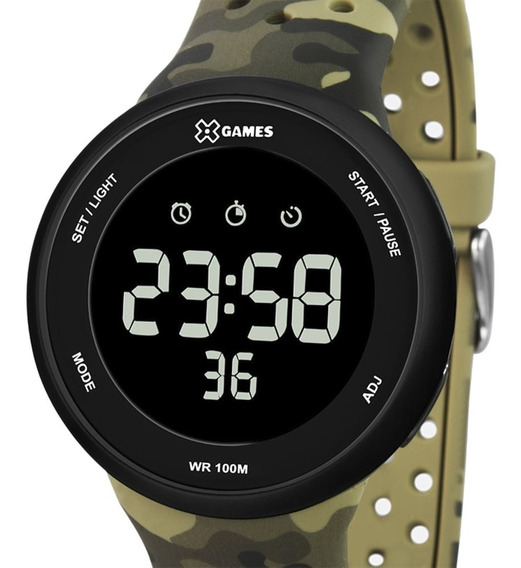 Relógio Xgames Masculino Digital Xmppd486 Verde Camuflado Nf