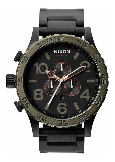 Relógio G0436 Nixon Preto / Bisel Verde / Pulseira Aço C/ Caixa