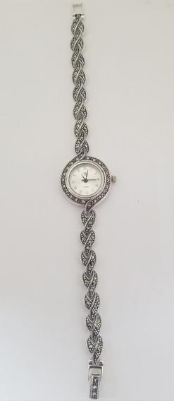 Hermoso Reloj De Plata Con Marquesita Diseño Exclusivo
