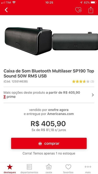Caixa De Som Bluetooth Multlaser Sp190