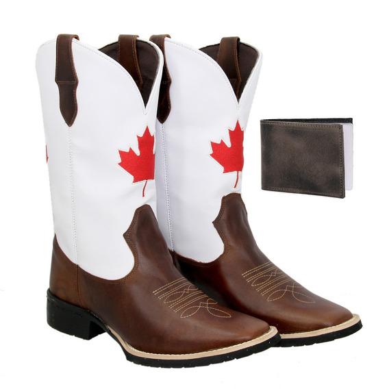 Bota Texana Country Masculina Couro Canadá + Carteira