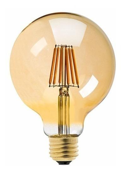 2 Lâmpada Led Vintage Edison 8w Decoração Gold Glas G80