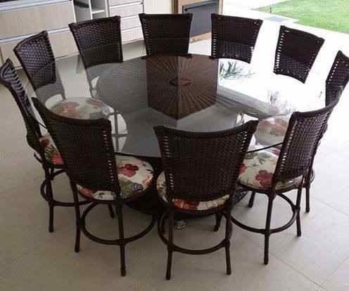 Mesa 1,80 + 10 Cadeiras Junco Area Cozinha Piscina Familia