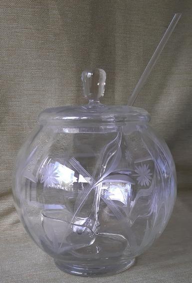 Antigua Ponchera De Cristal Tallado Con Cucharon Y Tapa