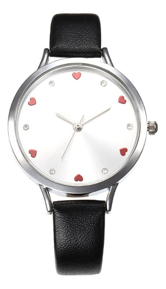 Mulheres Moda Simples Pu Couro Pulseira Relógio Senhora Amor