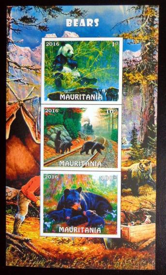 Mauritania Fauna, Bloque 3 Sellos S D Osos 16 Mint L9909