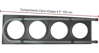 Chapa Fogão Lenha Com Serpentina Alumínio 4 Furo 29x100x35cm