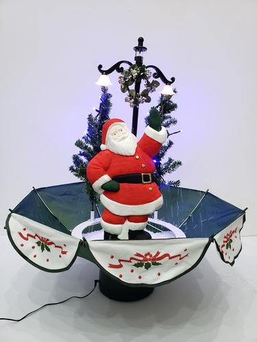 Imagen 1 de 3 de Sombrilla Navideña Santa Claus Luz Led Y Caída De Nieve