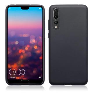 Capa Preta Tpu Silicone Huawei P20 Pro Pelicula De Vidro
