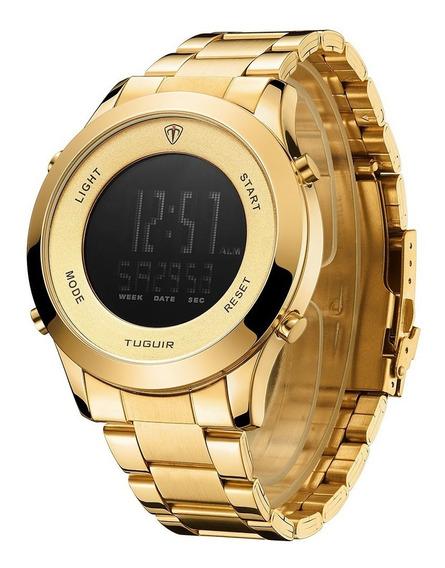 Relógio Masculino Tuguir Digital Dourado Top De Linha +caixa