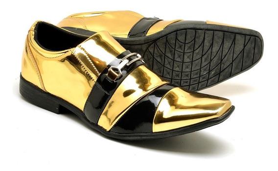 Sapato Social Masculino Couro Eco Verniz Brilhoso Luxo